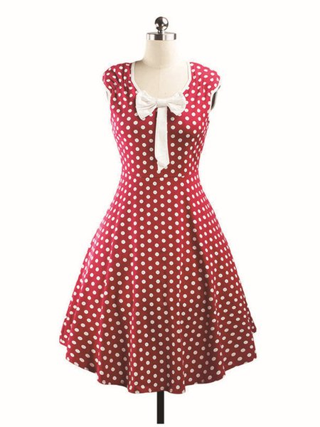 Vintage Short Sleeve V Neck Polka Dots Dress