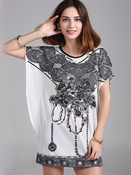 Printed Batwing Crew Neck H-line Tunic Top