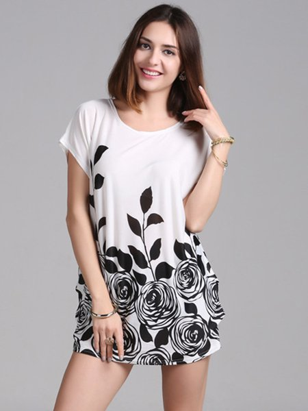 Printed Short Sleeve Shift Casual Tunic Top