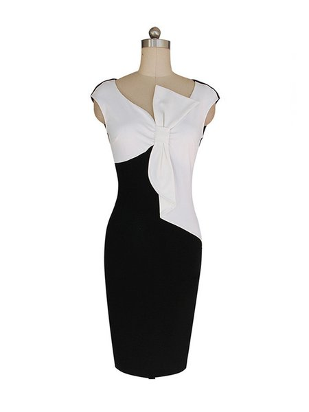 Color Block Simple Bow Sheath Sleeveless Dress