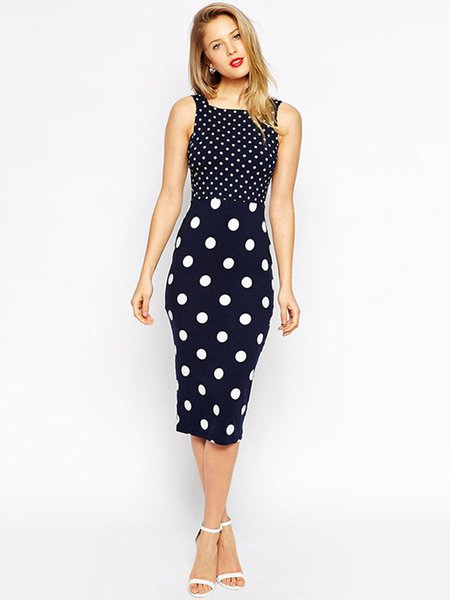 Dark Blue Vintage Polka Dot Ladder Cutout Sheath Dress