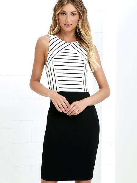 Crew Neck Sleeveless Stripes Print Dress