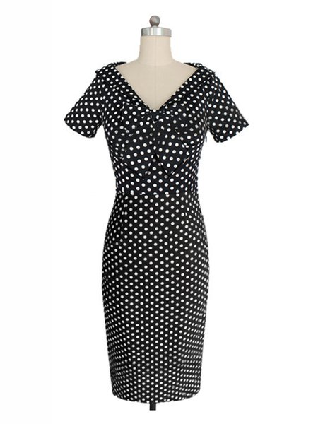 Vintage Short Sleeve Polka Dots Bow Dress