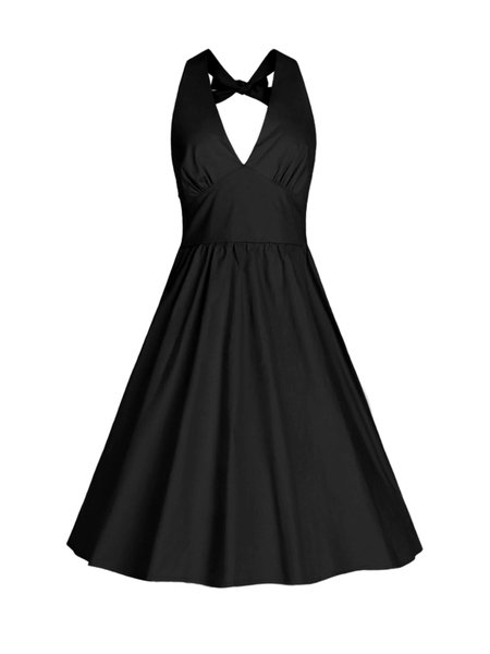 Simple Plunging Neck Gathered Tie Back Dress