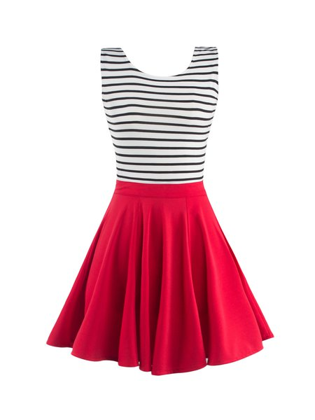 Red A-line Vintage Cutout Stripes Print Dress