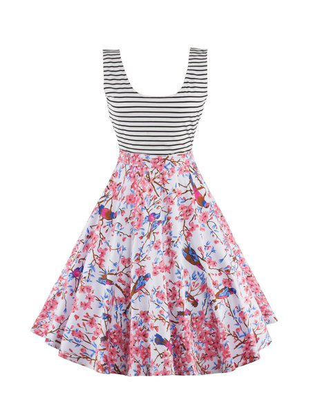 Cotton-blend Vintage Floral Stripes Cutout Sleeveless Dress