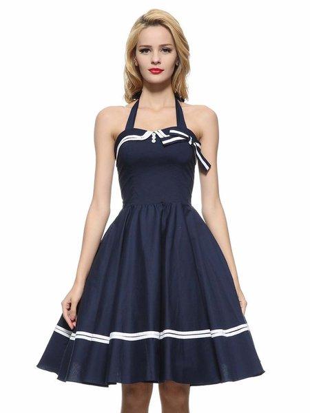 Tie Back Folds Cotton-blend Simple Party Dress