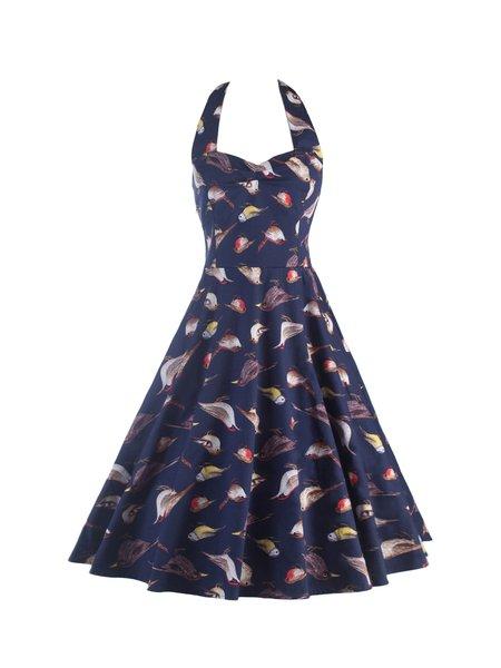 Dark Blue Animal Print Tie Back Vintage Sweetheart Dress