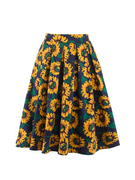 Dark Blue Floral Print Folds A-line Girly Skirt