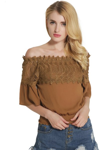 Khaki Embroidered Half Sleeve Off Shoulder Top