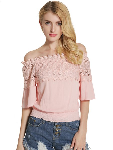 Embroidered Half Sleeve Off Shoulder Top