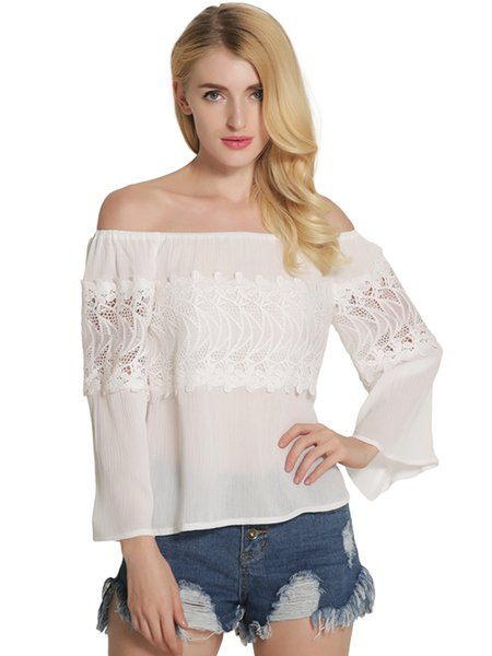 Embroidered Girly Long Sleeve Off Shoulder Top