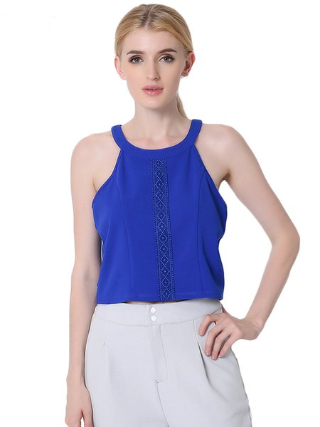 Royal Blue Slit Back Sleeveless Solid Woven Tank Top