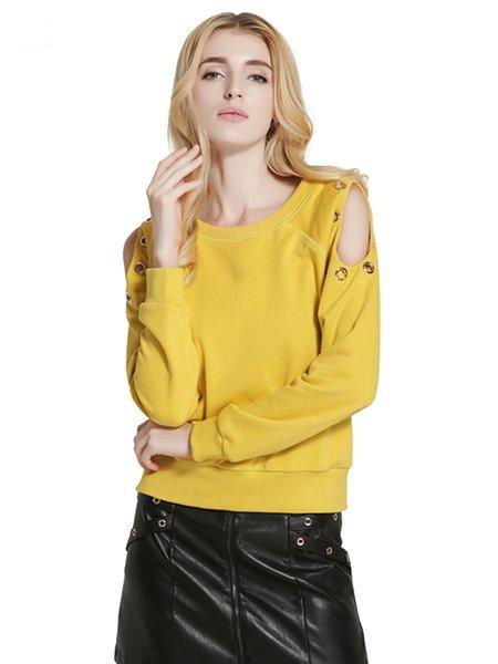 Yellow Cold Shoulder Long Sleeve Solid Sweatshirt
