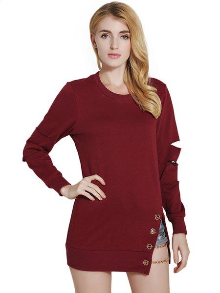 Solid Chain-trimmed Long Sleeve Sweatshirt