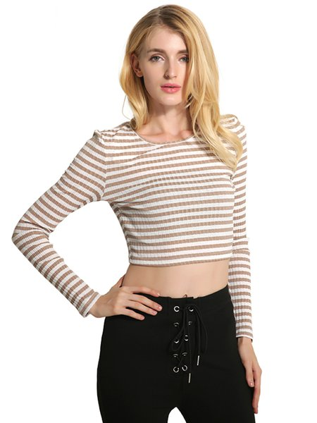 Knitted Long Sleeve Stripes Casual Crop Top
