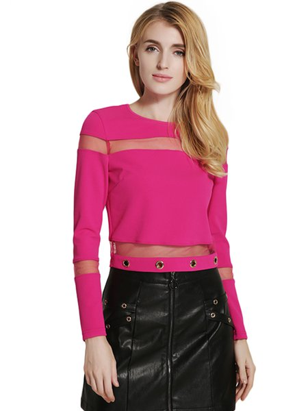 Fuchsia Mesh-inserted Long Sleeve Crew Neck Crop Top