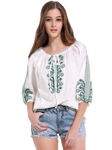 White Embroidered Balloon Sleeve Blouse