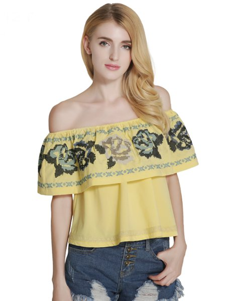 Yellow Girly Embroidered Off Shoulder Top