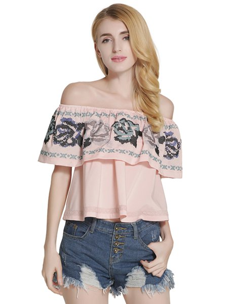 Off Shoulder Embroidered Girly Off Shoulder Top