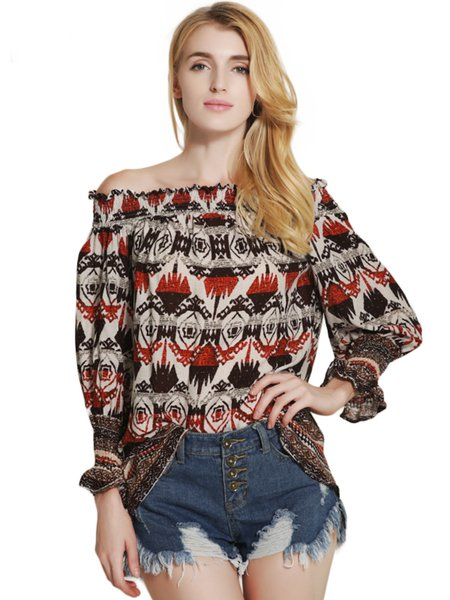 Red Vintage Printed Off Shoulder Top