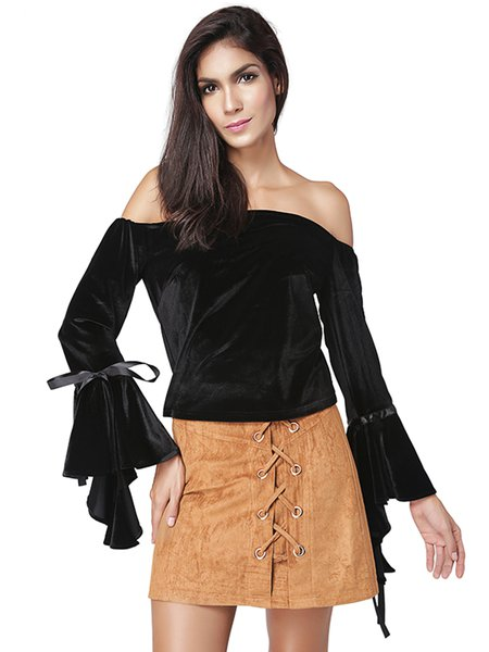 Black Flared Sleece Polyester Off Shoulder Top