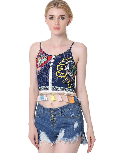 Tassel Strp Back Vintage Cotton Spaghetti Crop Top