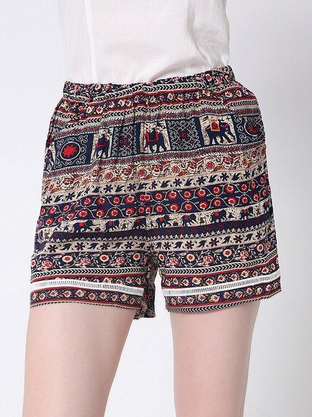 Pockets Polyester Printed Tribal Shorts