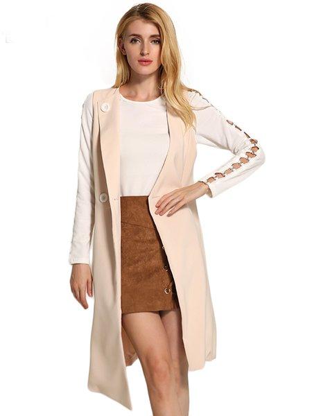 Asymmetrical Sleeveless Elegant Buttoned Woven Vest