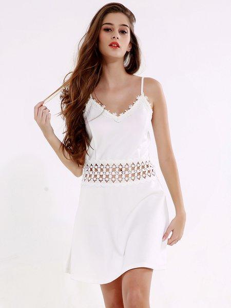 White Pierced Spaghetti Crochet-trimmed Dress