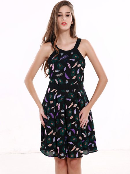 Feather Pritned Halter Chiffon Dress