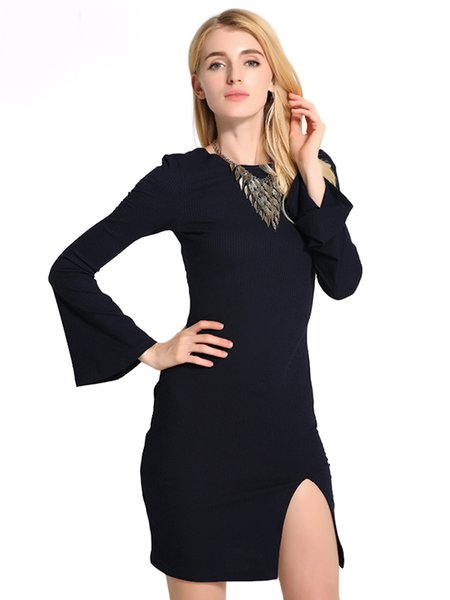 Lace Up Slit Knitted Long Sleeve Sexy Crew Neck Solid Dress