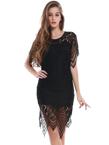 Black Pierced Bodycon Sexy Cutout Back Lace Dress