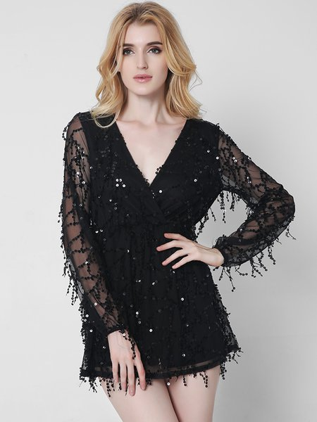 Black V Neck Sequins Beaded Long Sleeve Mesh Dress