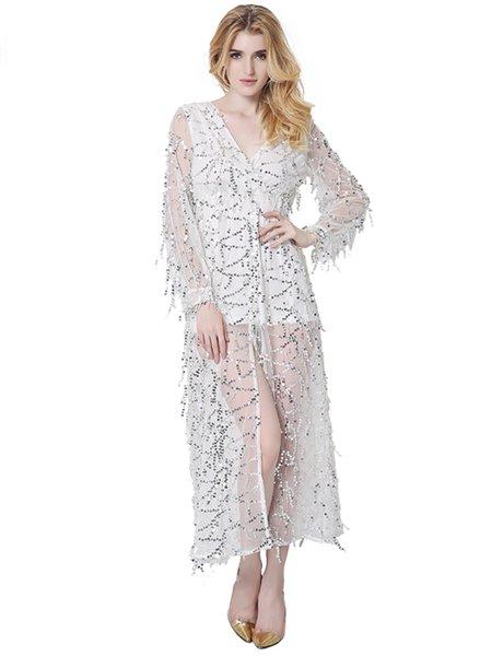 Sequins Slit Front V Neck Sexy Mesh Dress