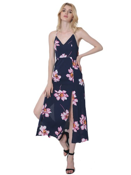 Slit Sexy Spaghetti Floral-print Chiffon Dress