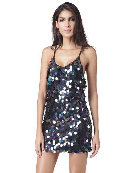 Sequins Sexy Spaghetti Glitter-finished Racerback Dress