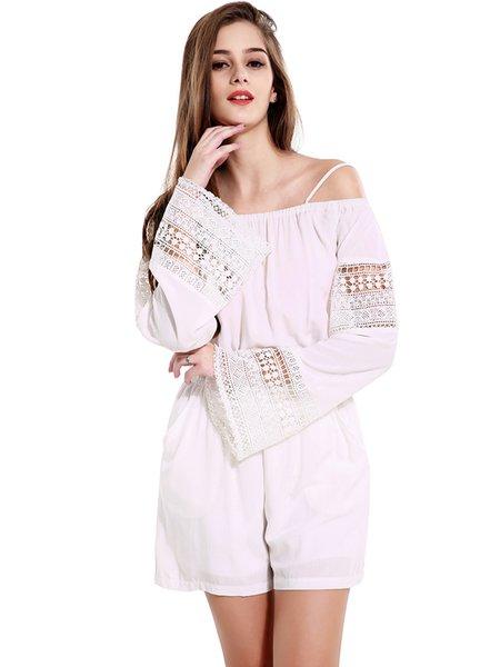 White Girly Cotton Pockets Off Shoulder Romper