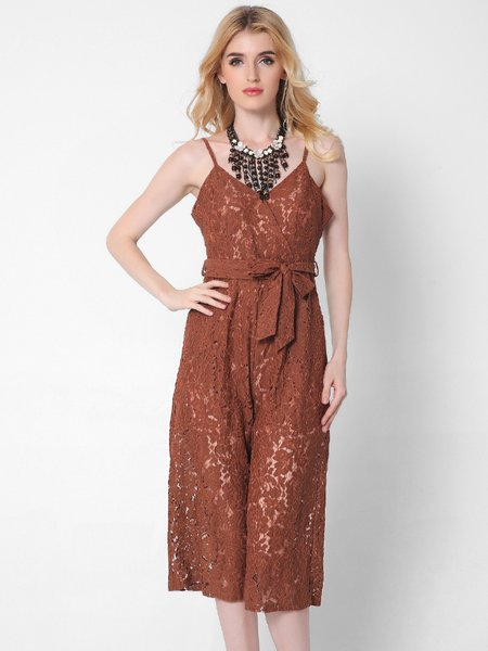 Pierced V Neck Spaghetti Lace  Jumpsuit with Belt