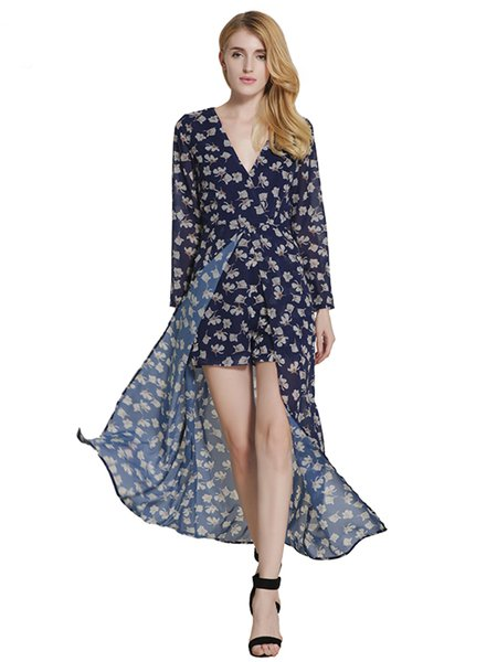 Navy Blue Floral V Neck Chiffon Long Sleeve Jumpsuit