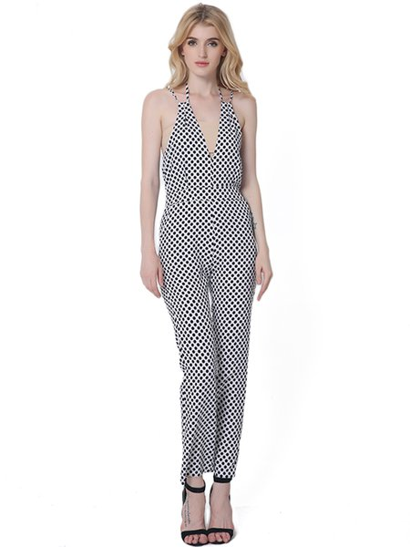 Polka Dots Sexy Sleeveless Plunging Neck Jumpsuit
