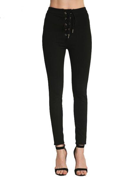 Black Solid Lace Up Cotton-blend Skinny Leg Pants