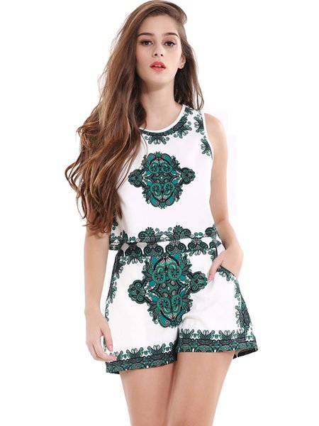 Green Vintage Printed Sleeveless Two Piece Romper