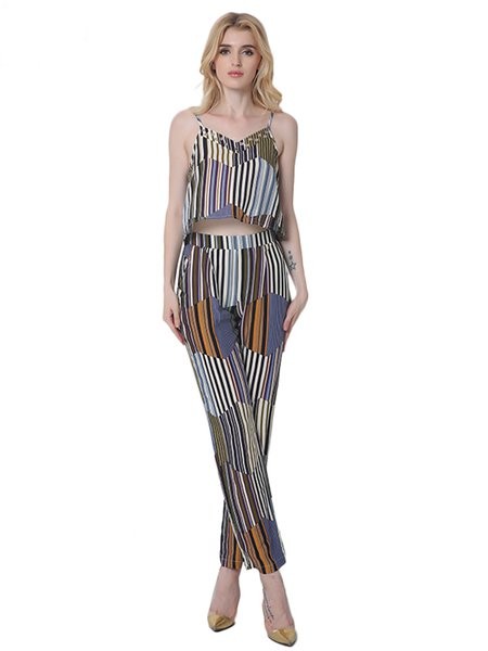 Stripes Spaghetti Two Piece Cotton Boho Jumpsuit