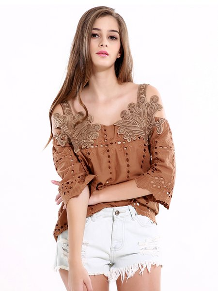 Khaki Embroidered Pierced 3/4 Sleeve Cold Shoulder Top