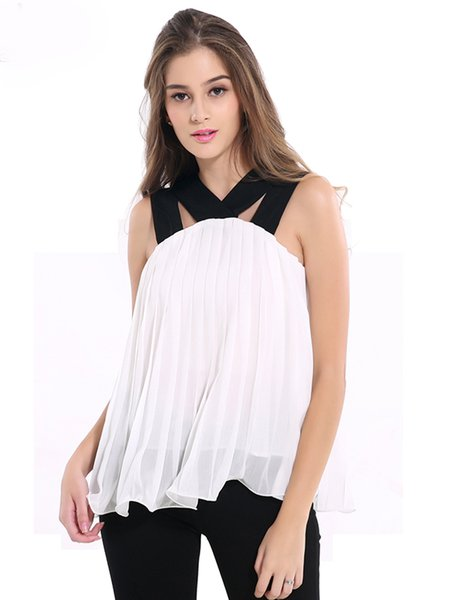 White Chiffon Spaghetti Girly Pleated Tank Top