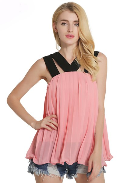 Pleated Criss Cross Girly Chiffon Tank Top