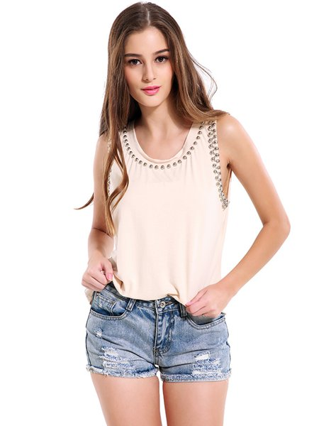 Apricot Beaded Solid Crew Neck Tank Top