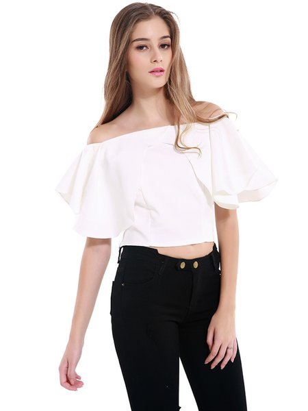 White Off Shoulder Frill Sleeve Girly Chiffon Crop Top