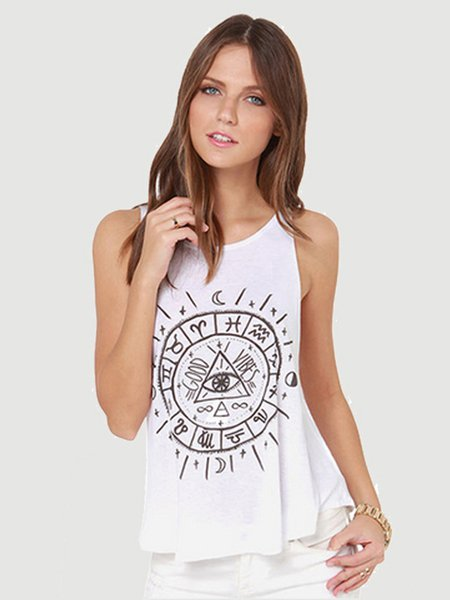 White Printed Sleeveless Crew Neck Tank Top